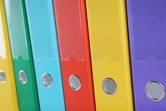 Office folders. Background of colorful office folders Stock Image