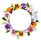 Background with colorful pansy flowers. Vector eps-10. Royalty Free Stock Images