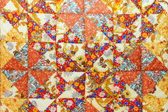 Background of colorful patchwork fabrics Stock Photos