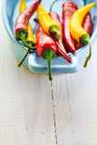 Background colorful peppers blue bowl Stock Images