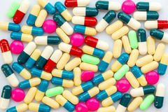 Background of colorful pills and medication, health medication concept. Background of colorful pills and medication, health and medication concept Stock Image