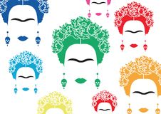 Background colorful portrait of Mexican or Spanish woman, minimalist Frida Kahlo with earrings skulls,. Background multicolors portrait of Mexican or Spanish Royalty Free Stock Photography