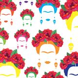 Background colorful portrait of Mexican or Spanish woman, minimalist Frida Kahlo with earrings skulls,. Background multicolors portrait of Mexican or Spanish Stock Photo