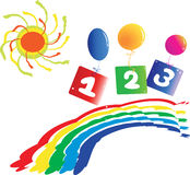 Background with colorful rainbow numbers stock illustration