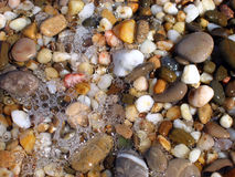 Background from colorful sea pebbles, water and foam. Visible bubbles and sun glare Stock Photography
