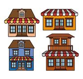 Background with colorful set of houses with sunshades stock illustration