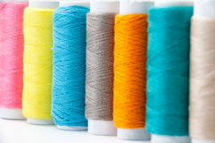 Background of colorful sewing thread Stock Images