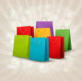 Background with colorful shopping bags. Discount c Stock Image