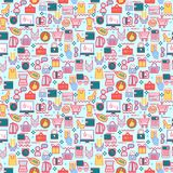 Background with colorful shopping icons, retail. Stock Photography