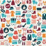 Background with colorful shopping icons Stock Images