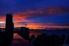 Background of colorful sky concept: Dramatic sunset with twilig royalty free stock image