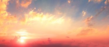Background of colorful sky concept: Dramatic sunset with twilight color sky and clouds stock image