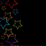 Background with colorful stars. Against black Stock Photo