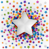 Background with Colorful Stars. Colorful background with confetti of stars, for greeting cards and celebrations, EPS 10 Stock Image