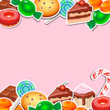 Background with colorful sticker candy,  sweets Stock Images