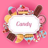 Background with colorful sticker candy, sweets and Royalty Free Stock Images