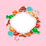 Background with colorful sticker candy,  sweets Royalty Free Stock Photo