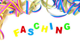 Background, colorful streamers and letters Stock Image