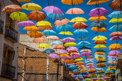 Background colorful street decoration,Madrid Stock Photo