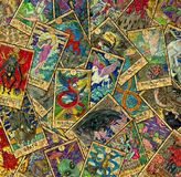 Background with colorful Tarot cards in pile vector illustration