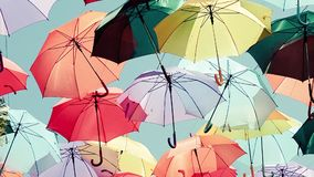 Background colorful umbrella street decoration stock video footage