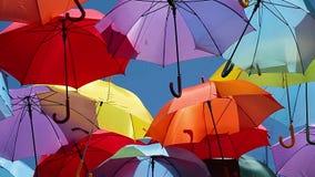 Background colorful umbrella street decoration stock video