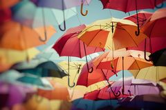 Background colorful umbrella street decoration. Selective focus. Royalty Free Stock Images