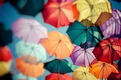 Background colorful umbrella street decoration. Selective focus. Royalty Free Stock Photography