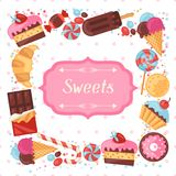 Background with colorful various candy, sweets and Royalty Free Stock Photo