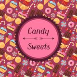 Background with colorful various candy, sweets and Royalty Free Stock Photos
