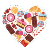 Background with colorful various candy, sweets and Stock Photo