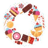 Background with colorful various candy, sweets and Royalty Free Stock Images