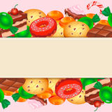 Background with colorful various candy, sweets and Stock Photos