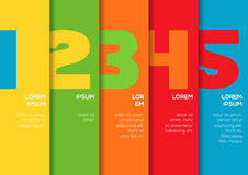 Background with 5 colorful vertical stripes with numbers Royalty Free Stock Images