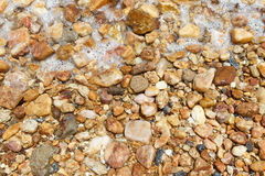 Background colorful wet stones on beach with water. Copy space Royalty Free Stock Photography