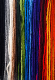 Background of colorful wollen textile. Colorful and creative woolen textile suitable to use as scarfs around the neck royalty free stock photography
