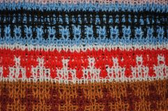 Background of colorful woolen knitted pattern Royalty Free Stock Photos