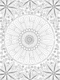 Background coloring antistress, drawings black lines and white background. Nature, flowers. Vector. Illustration stock illustration