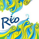 Background in colors of Brazilian flag for Rio 2016, Brazil. Vector background with the word Rio and abstract dotted curls  on white. Background in colors of Stock Photo
