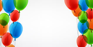 Background with colour balloons. White background with colour balloons. Vector illustration Stock Photo