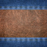 Background combined denim close-up Stock Images