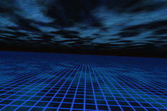 Background Communications Horizon. A blue grid stretching out to the horizon over a dark surreal sky Stock Photos