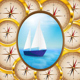 Background of compasses Royalty Free Stock Photos