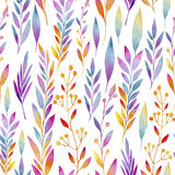 Background composed of multicolored Lean in watercolors. Seamless watercolor background consists of colored watercolors of plants Stock Images