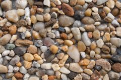 Background composed of stones from coastal beaches. Bright colors, larger and smaller specimens, texture, bricks wall royalty free stock photo