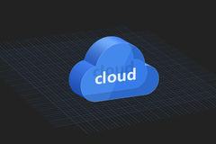 Background composed of three-dimensional blue cloud stock illustration