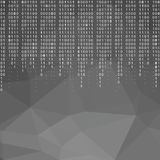 Digital technology polygon wallpaper with falling binary code. royalty free illustration