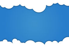 Background composed of white paper clouds over blue. vector illustration. stock illustration