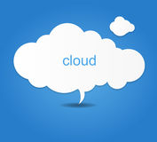Background composed of white paper clouds over blue. vector illustration. Royalty Free Stock Images