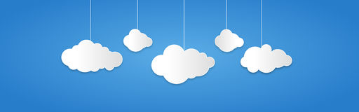 Background composed of white paper clouds over blue. vector illustration. royalty free illustration